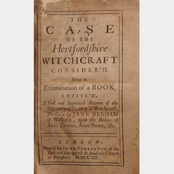 Wenham, Jane (d. 1730) The Case of the Hertfordshire Witchcraft Consider'd