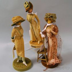 Three Lafitte-Desirat Wax Fashion Dolls
