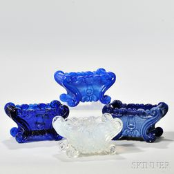 Four Pressed Glass Lyre Pattern Open Salts