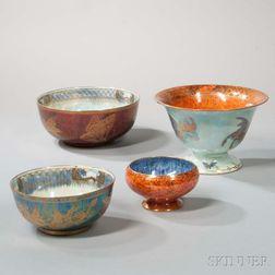 Four Wedgwood Lustre Bowls