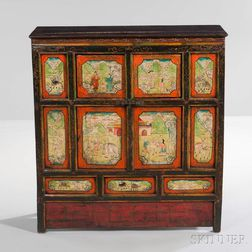 Paint-decorated Wooden Cabinet
