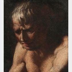 Manner of Luca Giordano (Italian, 1634-1705)    Portrait Head of a Man