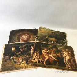 Four Unframed Oil on Canvas Works
