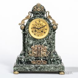 Gilt-bronze and Green Marble Japy Freres Mantel Clock