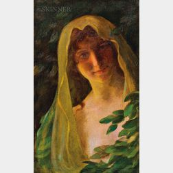 Charles Courtney Curran (American, 1861-1942)      Woman in a Veil