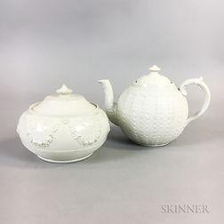 Salt-glazed Ceramic Teapot and Covered Sugar
