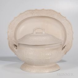 Staffordshire White Salt-glazed Stoneware Tureen, Cover, and Platter