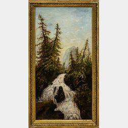 American School Mountain Waterfall Landscape