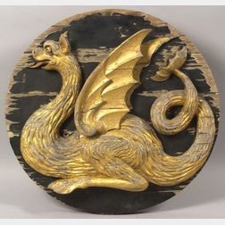 Carved and Gilded Wooden Sea Serpent Figural Medallion