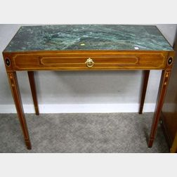 Henkel-Harris Regency-style Marble-top Inlaid Mahogany One-Drawer Console Table