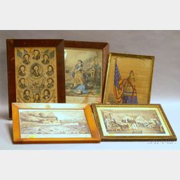 Five Framed Hand-colored U.S. Historical Lithographs