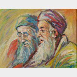 Attributed to Bezalel Schatz (Israeli, 1912-1978)      Portrait of Two Men