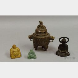 Asian Bronze Dragon Incense Burner and Three Small Buddhas