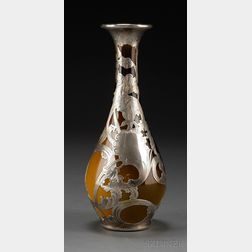 Art Nouveau Rookwood Pottery Silver Overlay Vase