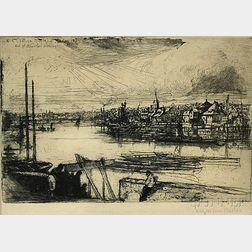 Sir Francis Seymour Haden (British, 1818-1910)      Battersea Reach