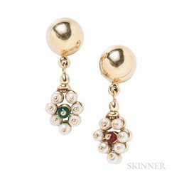 14kt Gold and Cultured Pearl Earrings
