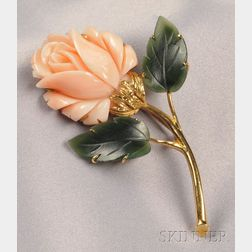 18kt Gold, Coral, and Nephrite Jade Brooch, Balogh