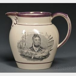 War of 1812 Transfer-decorated Staffordshire Pottery Pitcher