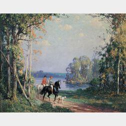 Frederick Mortimer Lamb (American, 1861-1936)    Two Women Equestrians in a Landscape