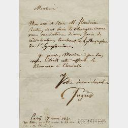Ingres, Jean-Auguste-Dominique (1780-1867) Autograph Letter Signed, Paris, 27 May 1841.