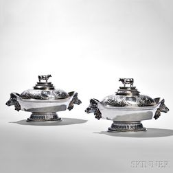 Pair of Ball, Black & Co. Sterling Silver Covered Tureens