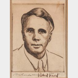 Frost, Robert (1874-1963) Signed Etching by Richard Hood.