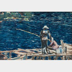 George Benjamin Luks (American, 1867-1933)      Fishing Scene