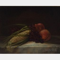 American School, 19th/20th Century      Corn and Fruit Still Life
