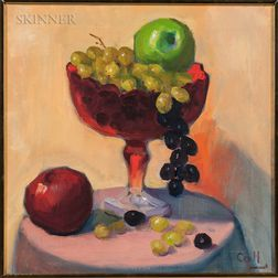 José Coll (Spanish, 20th Century)      Still Life with Apples and Grapes.