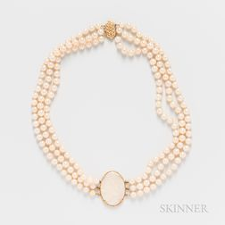 Triple-strand Pearl Necklace with Opal Center