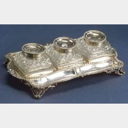 George III Silver Three Bottle Standish