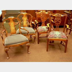 Pair of Smith & Watson Queen Anne Style Carved Mahogany and Burl Veneer Armchairs and a Pair of Chippendale Roc...