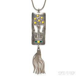 Art Deco Silver and Enamel Pendant, Etienne David