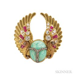Egyptian Revival Gold Gem-set Brooch