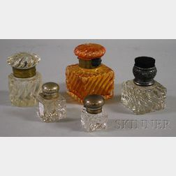 Four Baccarat-type Colorless and Peach Molded Glass Inkwells and a Sander