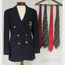Men's Polo Ralph Lauren for Saks Fifth Avenue Navy Blue Blazer and Four Neckties