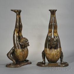 Pair of Venetian Parcel-gilt and Carved Wood Blackamoor Acrobat Stands