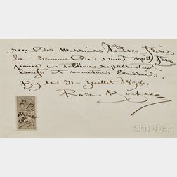 Bonheur, Rosa (1822-1899) Autograph Receipt, Signed and Initialed, 31 July 1894.