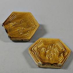 Pair of Mustard-glazed Hexagonal Tiles