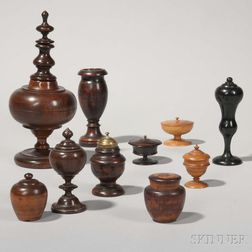 Nine Treen Spice Boxes and a Treen Spill Vase