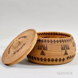 Yokuts Polychrome Lidded Basket