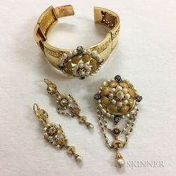 18kt Gold, Pearl, and Rose-cut Diamond Suite