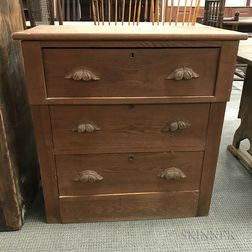 Victorian Elm and Oak Three-drawer Chest