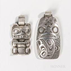 Two Contemporary Northwest Coast Silver Pendants