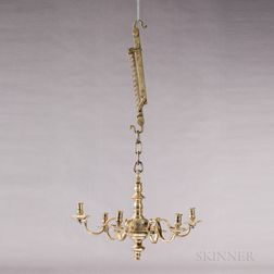 Brass Six-light Chandelier and Adjustable Trammel