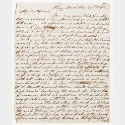 Mount, William Sidney (1807-1868) Autograph Letter Signed, Stony Brook, 31 December 1848.