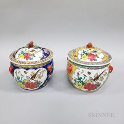 Pair of Enameled Lidded Jars