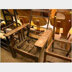 W. H. Guslocke Oak Slat-Sided Adjustable-back Morris Chair.