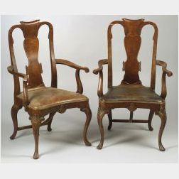 Set of Five Queen Anne Style Walnut and Burl Veneer Armchairs