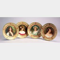 Four Dresden Porcelain Handpainted Portrait Plates